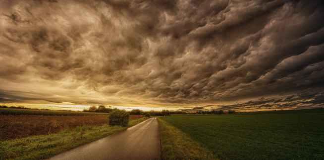road in between grass field under grey sky